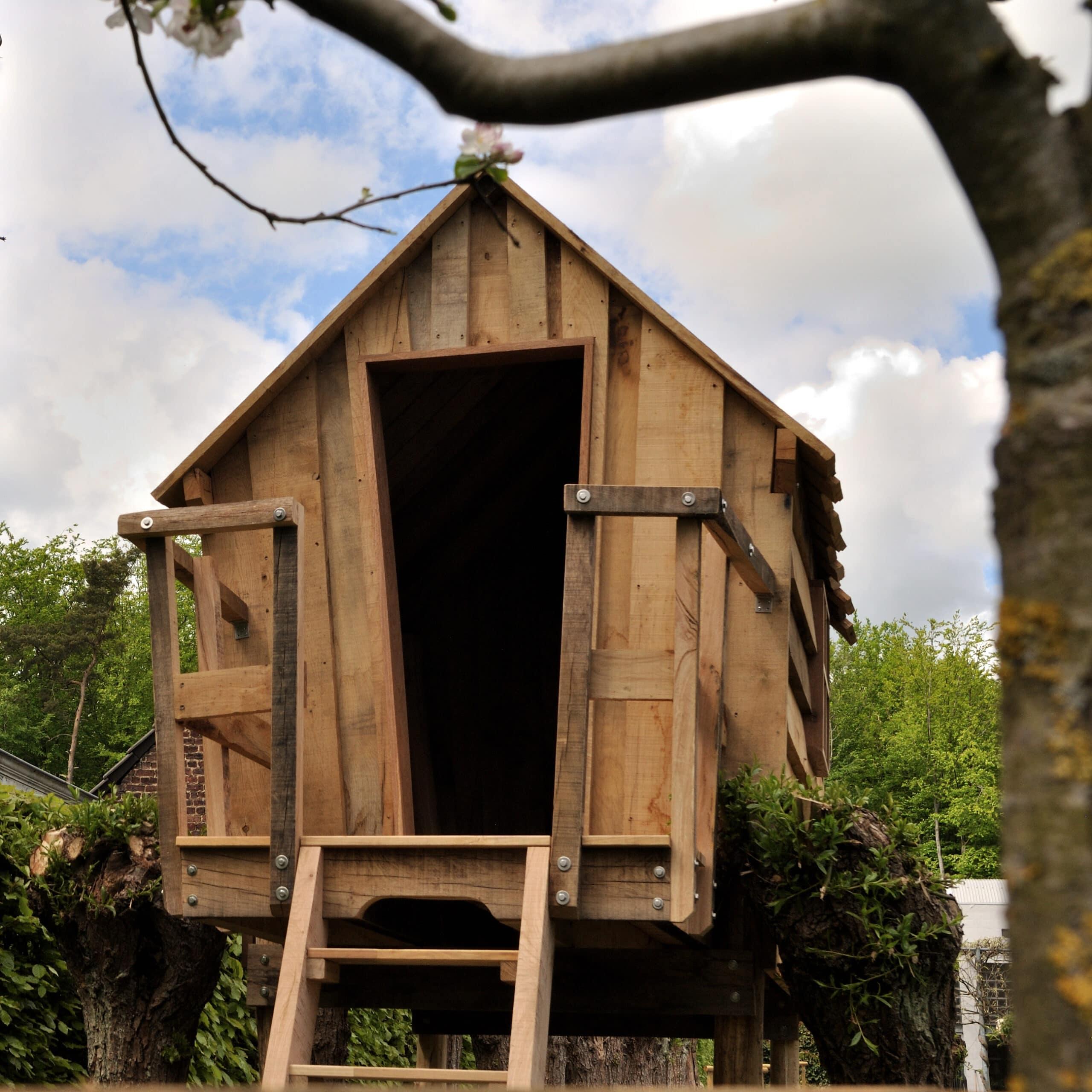 Cabane perchée entre les saules têtards